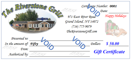 2018 Holiday Gift Certificates